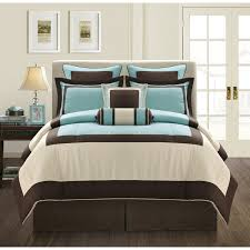white brown and blue turquoise comforter sets with brown bed and