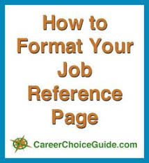 reference page format job references letter format format a list