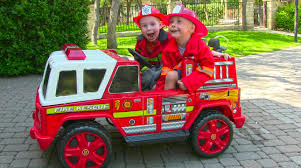 ride on fire engine for kids unboxing review and riding youtube