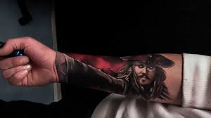 jack sparrow tattoo on right forearm by craig cardwell