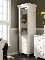 bathroom white wooden corner linen cabinet with 3 drawers for