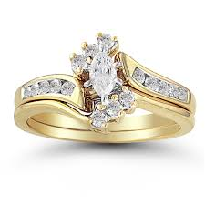 yellow gold bridal sets 10k yellow gold 38 ctw diamond marquise halo top wedding set
