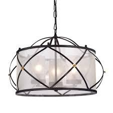 3 Light Ceiling Fixture Merga 3 Light Orb Wrought Iron Drum White Shade Chandelier Ceiling
