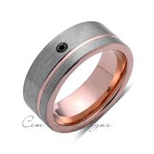 8mm diamond 8mm mens black diamond ring brushed gold tungsten ring