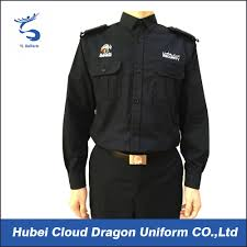 Custom Embroidery Shirts Custom Embroidered Logo Security Guard Shirts Dark Blue Long