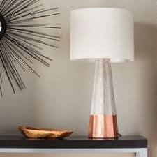 copper and concrete lamp with handloom white shade lighting