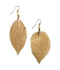 hm earrings h m leaf shaped earrings in metallic lyst
