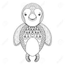 vector pinguin for coloring page hand drawn funny pinguin