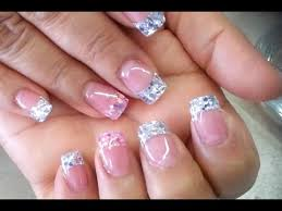 silver pink glitter acrylic french nails youtube