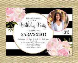 birthday invitation black white stripes gold glitter
