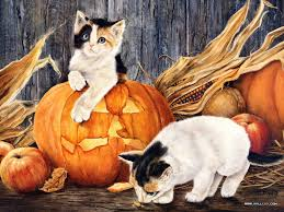 halloween background cat and pumpkin halloween art paintings art painting u003e u003e index u003e u003ehalloween