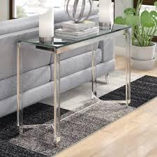 Glass Sofa Table Modern Glass Console Sofa Tables Allmodern