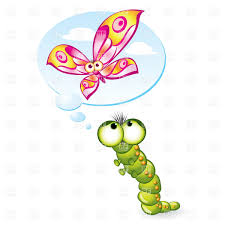 caterpillar wants to become a butterfly royalty free vector clip