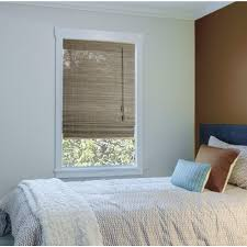 hampton bay caramel simple weave flatstick bamboo roman shade 66