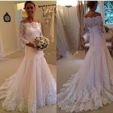 discount french lace wedding dresses bateau neck three quarter