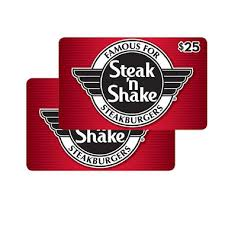 guft cards steak n shake 50 value gift cards 2 x 25 sam s club