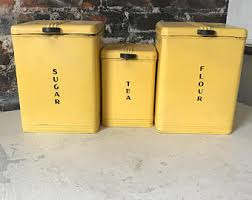 yellow kitchen canister set kitchen canister set etsy