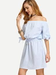 blue striped off the shoulder tie waist dress shein sheinside
