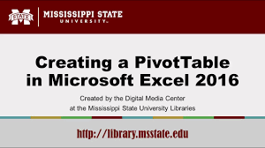 Creating A Pivot Table In Excel Creating A Pivottable In Microsoft Excel 2016 Youtube