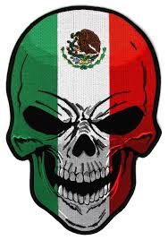 mexican flag skull large back patch