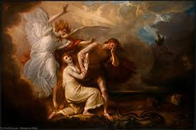 the expulsion of adam and eve from paradise oil by benjamin west