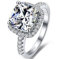 aliexpress buy 2ct brilliant simulate diamond men threeman 7 7 genuine 925 sterling silver 2 ct excellent cushion