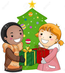 illustration of a boy and exchanging gifts stock photo