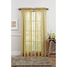 better homes and gardens leaves semi sheer window panel citron