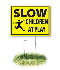 amazon com kids playing safety sign double sided