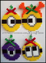 despicable me minions ornaments set of 4 perler by