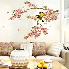 bird flower tree branch wall decal stickers home decoration wall