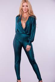 teal jumpsuit teal v neck sleeve catsuit jumpsuit jumpsuits and