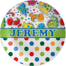 personalize plate dinosaur print dots melamine plate personalized potty