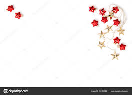 christmas ornaments golden stars red baubles flat lay u2014 stock