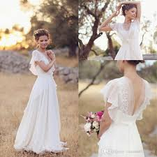 2017 modest beach v neck cap sleeves wedding dresses ruffles lace