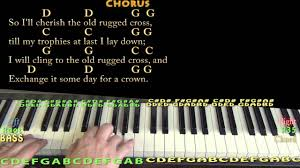 the old rugged cross hymn piano cover lesson in g with chords