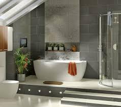modern small bathroom design featuring oval white acrylic bathtub