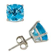 blue topaz earrings 2 2 ct t w cushion cut swiss blue topaz stud earrings in 14k