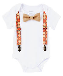 infant thanksgiving baby boy thanksgiving argyle suspenders orange tan bow tie