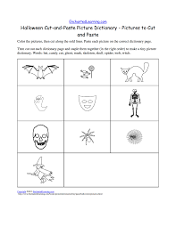 halloween cut and paste picture dictionary a short book to print