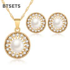 vintage necklace sets images Btsets turkish pearl jewelry sets fashion 2018 gold color african jpg