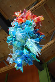 Chandelier Made From Plastic Bottles Make It A Wonderful Life Chihuly Meets Earth Day