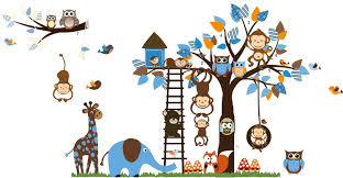 Nursery Monkey Wall Decals Zoo Meeting On A Tree Owl Monkey Wall Decal For Nursery Room