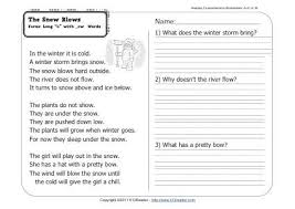 the snow blows 1st grade reading comprehension worksheet wk 31