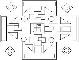 rangoli patterns using mathematical shapes rangoli coloring printable page 3 for kids