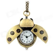 quartz necklace watch images Vintage ladybug style analog quartz necklace watch golden jpg