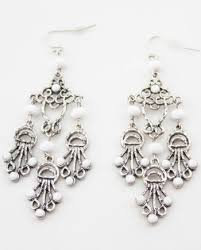 Chandelier Beaded Earrings White Bead Earrings U2013 Parmalade Vintage Artistic Jewelry From All Over The World