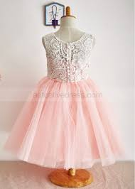 flower girl dresses a line ivory lace pink tulle flower girl dress