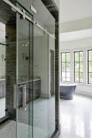 Shower Door Rails Frosted Glass Sliding Shower Door On Rails Transitional Bathroom