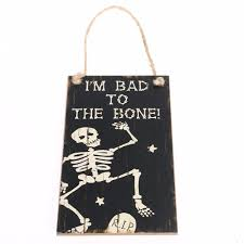 hanging halloween decorations online shop halloween party i u0027m bad to the bone rectangle hanging